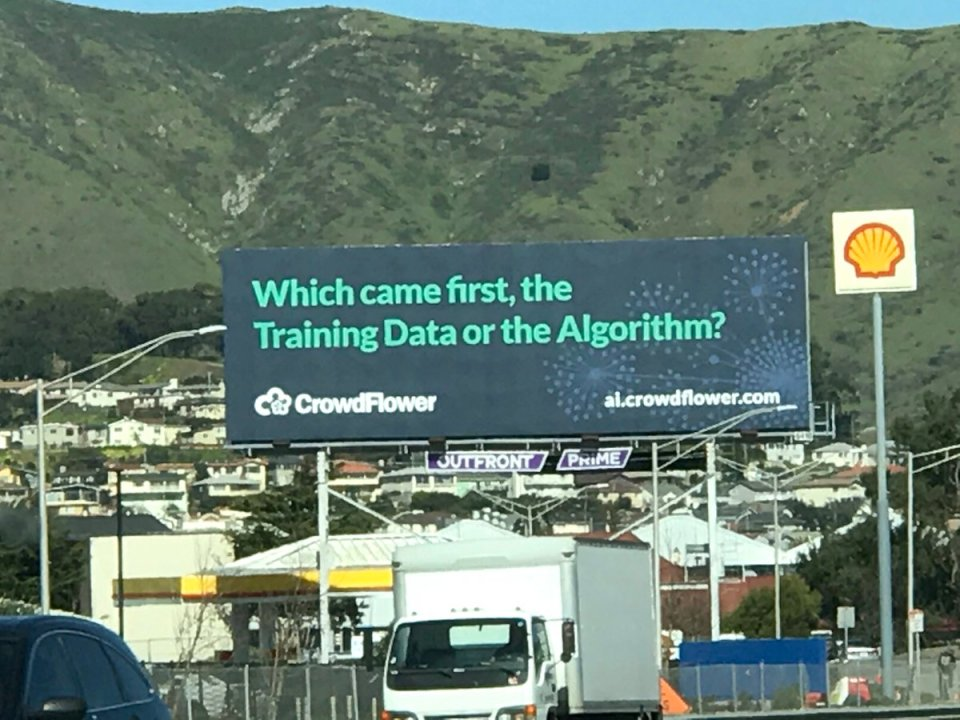 """""""Which came first, the Training Data or the Algorithm?"""" CrowdFlower billboard"""